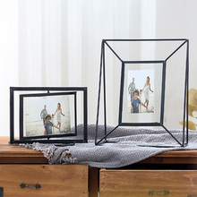 Nordic geometric Metal crystal photo frame creative wall decoration decorative 6 8 inch