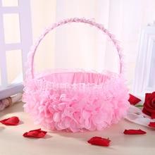 Hand-woven Rattan Woven Lace basket Wedding Supplies pink Flower Basket Petal Fruit Simulation petals