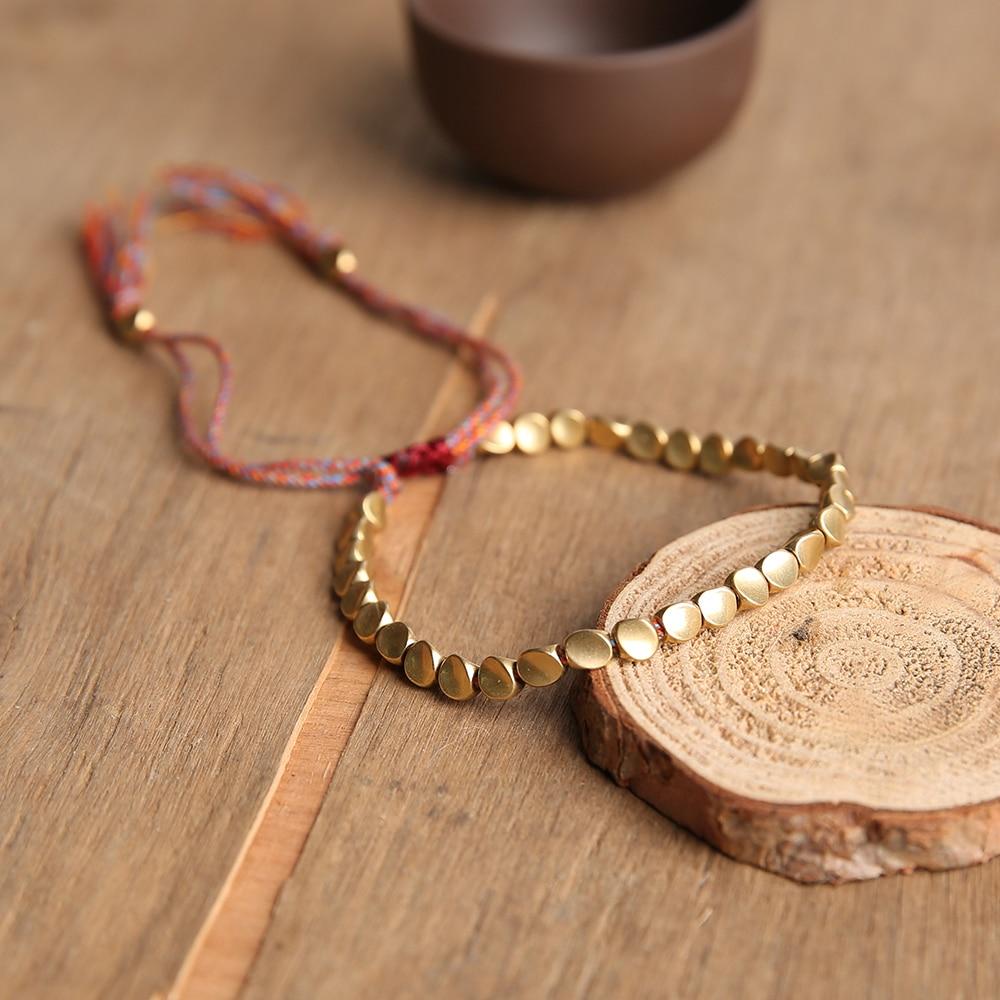 Tibetan Handmade Buddhist Braided Copper Beads Lucky Rope Charms Bracelet & Bangles For Women Men Thread Bracelets Jewelry Gift