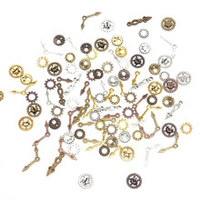 100Pcs/Lot Mixed Gear Cog Vintage Metal Metal Steampunk Pointer Charms Fit Jewelry Pendant Charms Makings