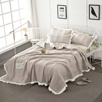 5 Colors Solid Color Thick Bedspread set Bed Sheet Stiching Pillowcase and Bedcover Coverlet 3pcs Set 98x98inches
