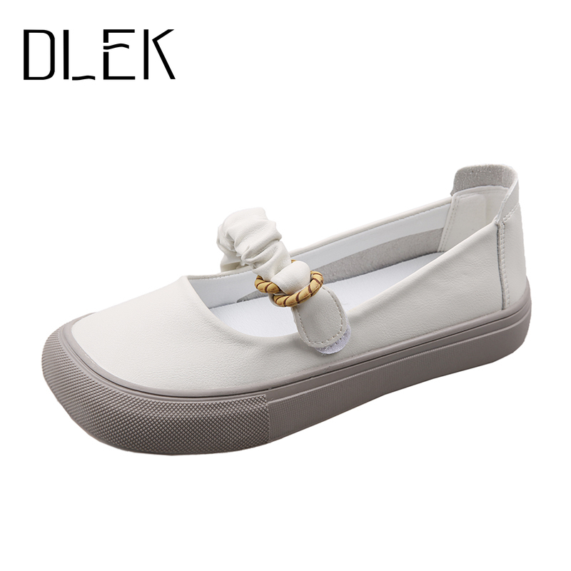 DLEK Vintage Shoes Without Heels Hook-loop Canvas Casual Pleated Women Flats Breathable Comfortable New Design Female Loafers