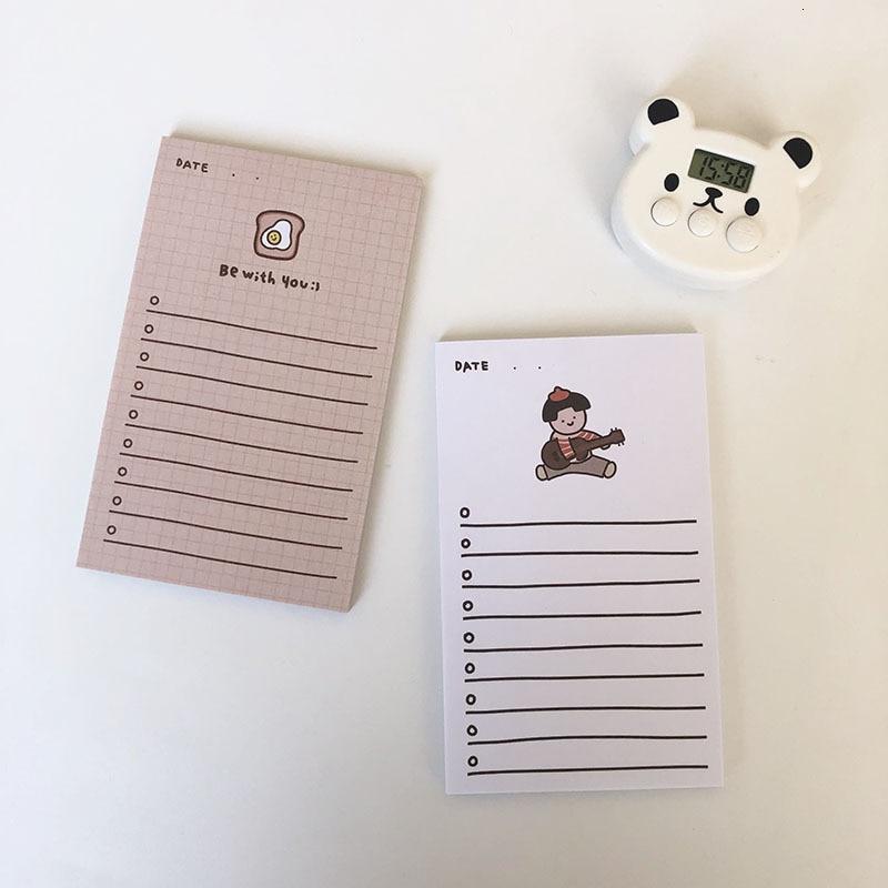 SIXONE 50 Sheets Ins Cartoon Kawaii Girl Note Paper Avocado Handbook Plan Book Memo Pad Portable Notebook Diary Stationery