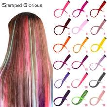 Штампованные великолепные клип-в один кусок для наращивания волос чистый цвет длинные прямые синтетические волосы поддельные волосы штук клип