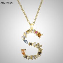 ANDYWEN 925 Sterling Silver Letter S Initial P L Pendant Long Chain Necklace Nightmare Before Christmas Lucky Crystal Jewelry