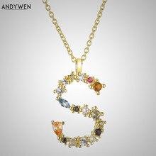 ANDYWEN 925 srebro litera S początkowa P L wisiorek długi naszyjnik z łańcuszkiem Nightmare Before Christmas Lucky Crystal Jewelry