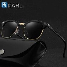 Retro Polarized Sunglasses Men Semi-Rimless
