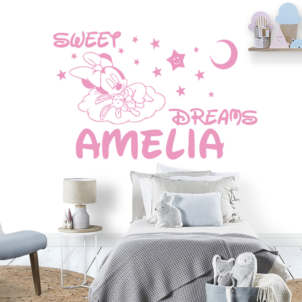 Sweet Dreams Minnie Mouse Custom Name Vinyl Wall Sticker Decal