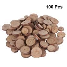 100 pces 1.5-3cm madeira log fatias discos para diy artesanato peças centrais do casamento