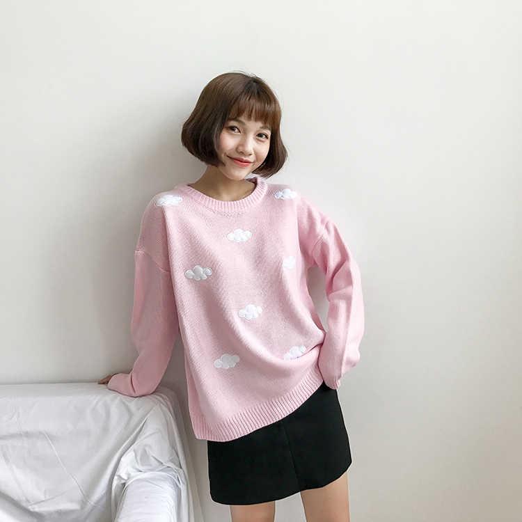 2020 여성 카와이 울장 빈티지 대학 느슨한 구름 스웨터 여성 한국어 펑크 두꺼운 귀여운 느슨한 하라주쿠 여성 의류