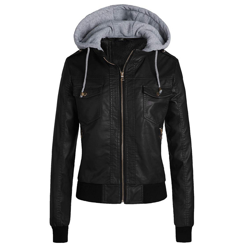 Faux   Leather   Jacket Women 2019 Hoodies Basic Jacket Coat Female Winter Motorcycle Jacket Faux   Leather   PU Outerwear Plus Size 3XL