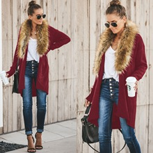 ZOGAA Women Fur Collar Cardigan Sweater Poncho Capes Femme Autumn Winter Long Sleeve Wool Sweater Knitted Irregular Cardigan burgundy long sleeves irregular hem knitted cardigan
