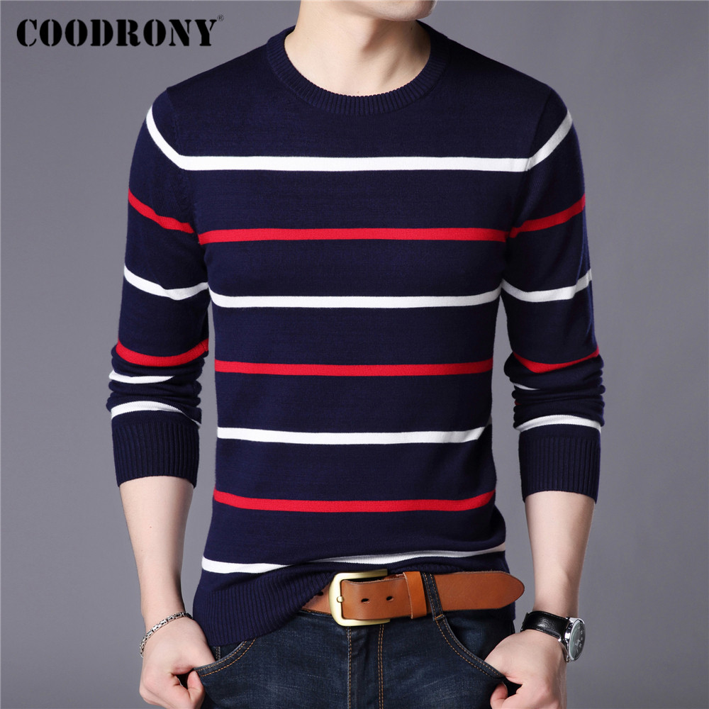 COODRONY Brand Sweater Men Fashion Casual Striped O Neck Pull Homme Spring Autumn Cotton Knitwear Pullover Clothing Jersey C1003