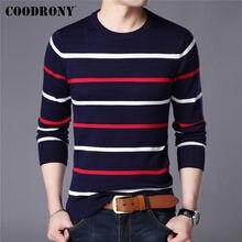 COODRONY marka sweter moda męska w stylu Casual, w paski O-Neck Pull Homme wiosna jesień bawełna dzianina sweter odzież Jersey C1003