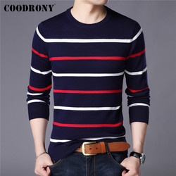 COODRONY Brand Sweater Men Fashion Casual Striped O-Neck Pull Homme Spring Autumn Cotton Knitwear Pullover Clothing Jersey C1003