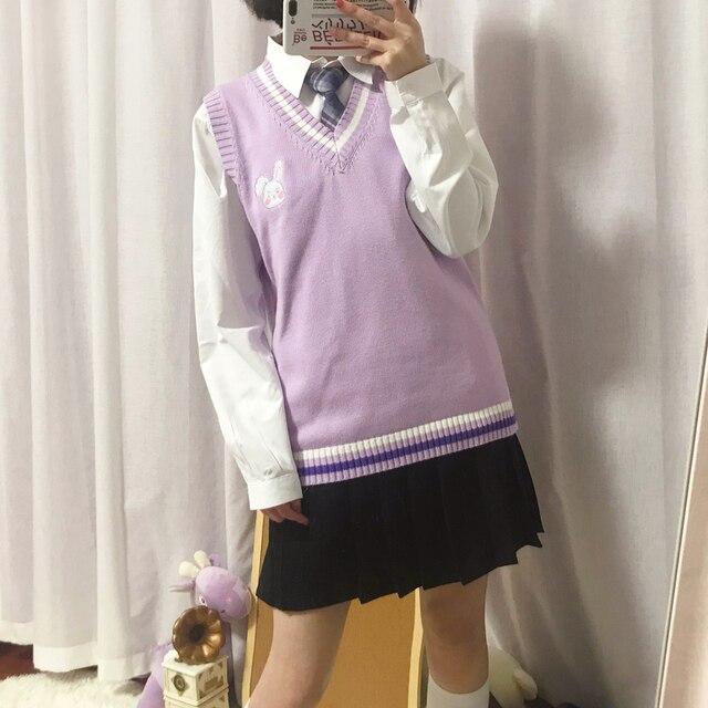 Japanese JK Sweater vest solid color cute cosplay pullover Girl school vest Rabbit cute little animal purple blue pink 5