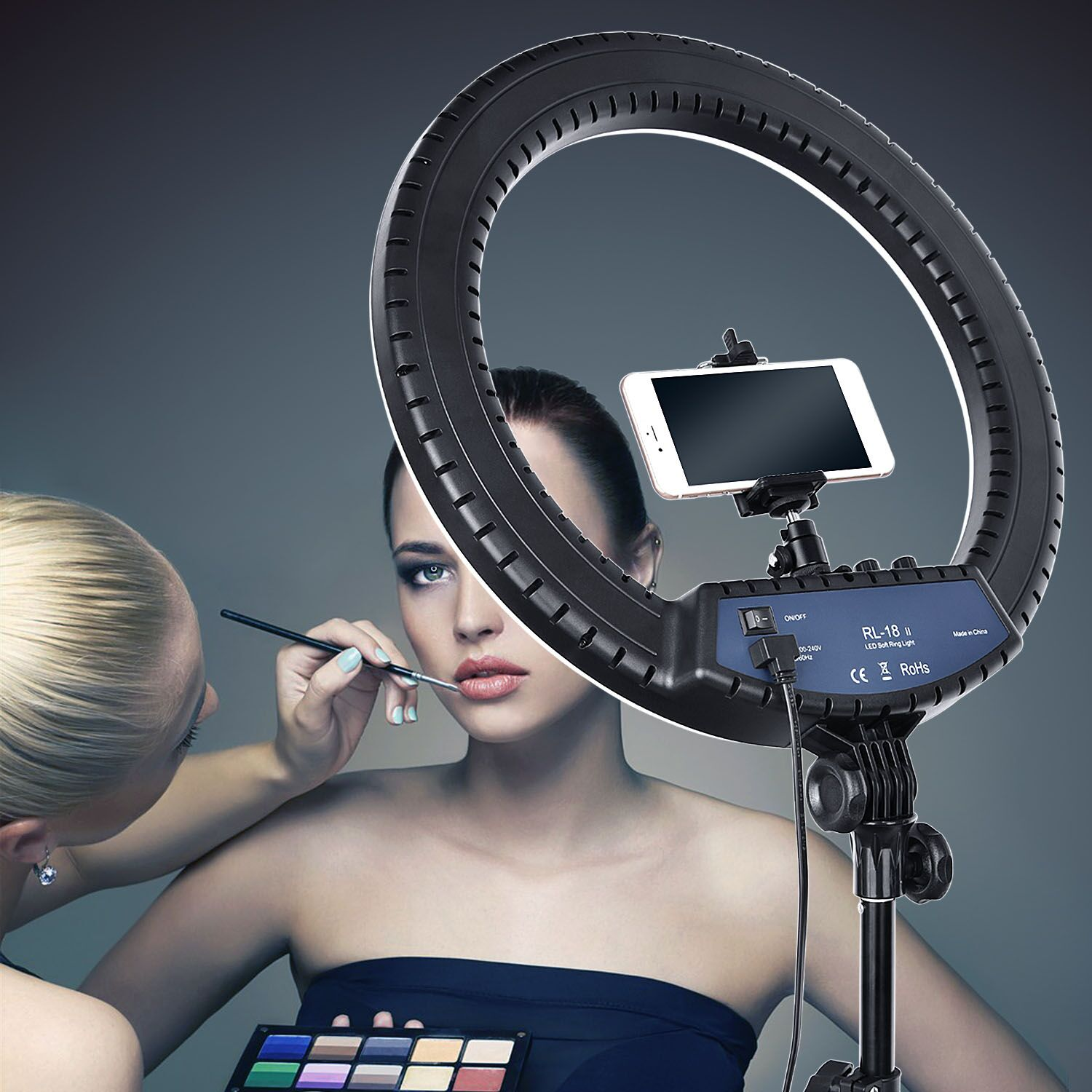 H214c66bd9cd64653adf05056842e2319Z FOSOTO RL-18II Led Ring Light 18 Inch Ring Lamp 55W Ringlight Photography Lamp With Tripod Stand For Phone Makeup Youtube Tiktok