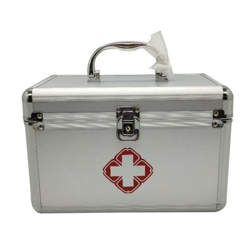 Silver Family Portable First Aid Kit  Medicine Box 2 Layers Portable Mobile Camping Survival Emergency Drug Storage Box DJB0053