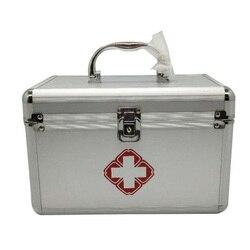 Zilver Familie Draagbare Ehbo-kit Geneeskunde Doos 2 Lagen Draagbare Mobiele Camping Survival Emergency Drug Opbergdoos DJB0053