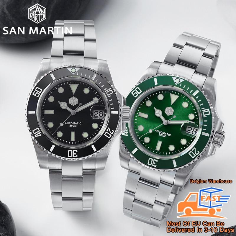 San Martin Diver Water Ghost Luxury Sapphire Crystal Men Automatic Mechanical Watches Ceramic Bezel 20Bar Luminous Date Window 2