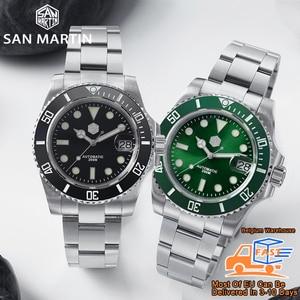 Image 2 - San Martin Diver Water Ghost Luxury Sapphire Crystal Men Automatic Mechanical Watches Ceramic Bezel 20Bar Luminous Date Window