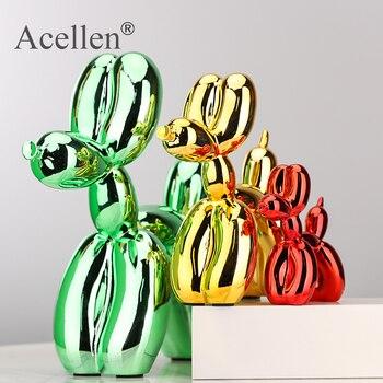 Animals Figurine Resin Cute Shiny Balloon Dog Shape Statue Art Sculpture Craftwork Home Decor with Antiskid Mat Lucky
