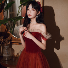 New Wine Red Wedding Dress  One-Shoulder Evening Dress  Temperament Dress