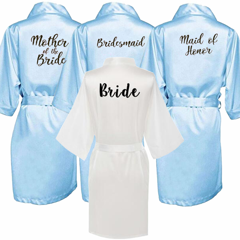 Blue Pink Robe Bride Bridesmaid Robe With White Black Letters Mother Sister Of The Bride Wedding Gift Bathrobe Kimono Satin Robe