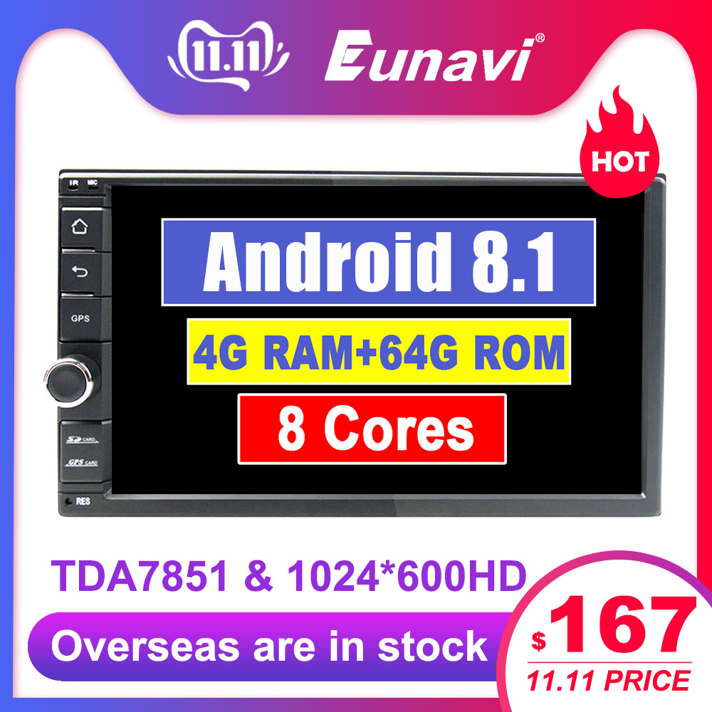 Eunavi Universal 2 din Octa core 7'' Android 9.1 Car Radio Stereo multimedia Player WIFI 2din GPS Navigation SWC TDA7851 NO DVD-in Car Multimedia Player from Automobiles & Motorcycles