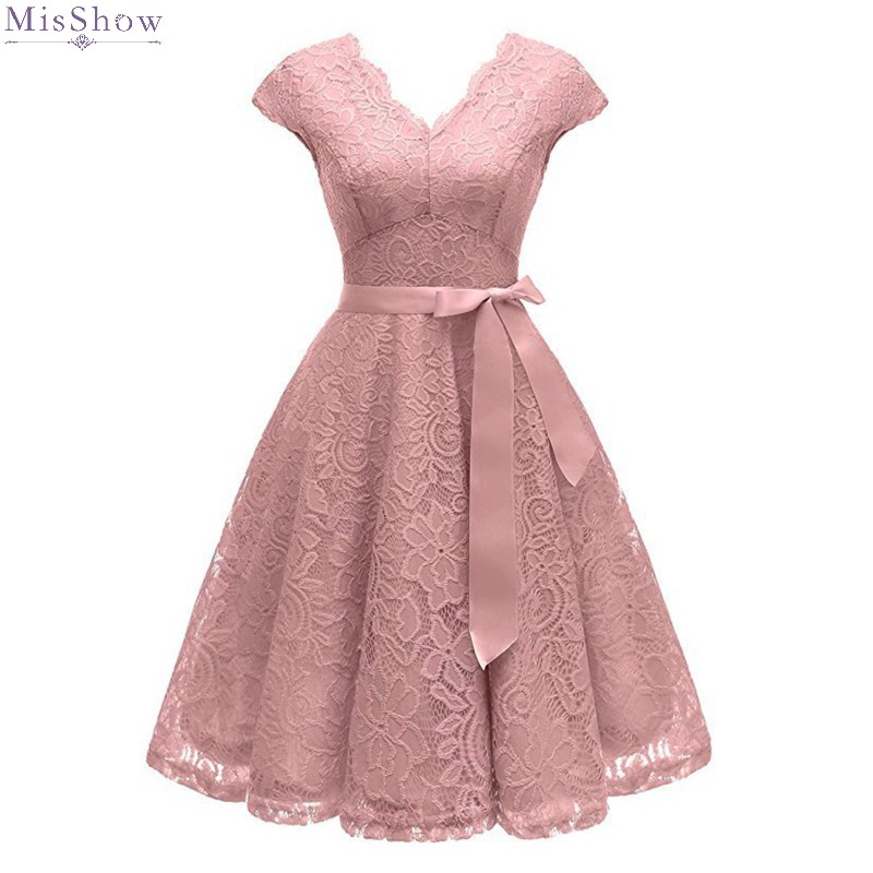 Cocktail Dresses 2020 Knee Length Pink Lace Short Formal Party Gown Elegant V Neck Sleeveless Robe De Soiree