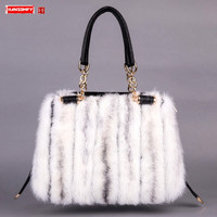 Original 2020 New genuine leather Women's Handbag Fur Mink Fur Shoulder Portable Messenger bag female Real Fur Bag Handbag