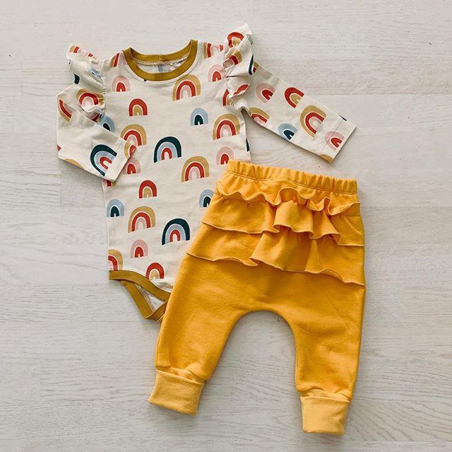 2Pcs Newborn Baby Girls Ruffles Clothes Rainbow Romper Bodysuit Long Pants Trousers Kids Baby Boy Clothing Outfit Set