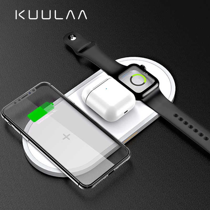 KUULAA 3 in 1 Qi Wireless Charger สำหรับ Airpods Apple 4 3 2 1 iWatch Fast Wireless CHARGING Pad สำหรับ iPhone 11 Pro XS MAX X