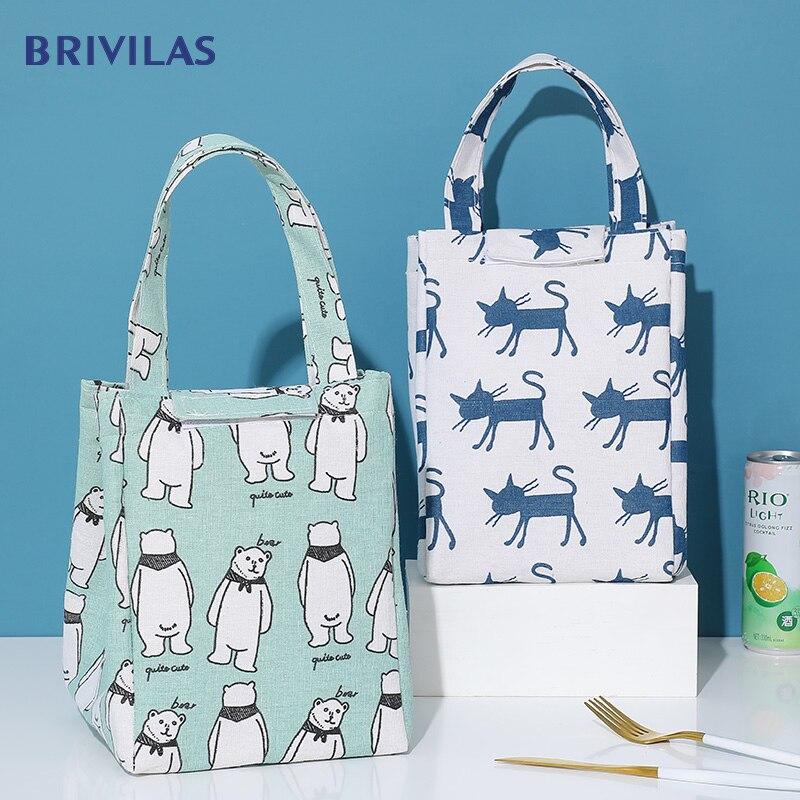 Brivilas cute cat thermal bag women's lunch bag handle portable kid insulated cooler bag picnic travel breakfast food bag box