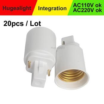 20 unids/lote lámpara adaptador G24 a E27 hembra Base adaptador bombilla lámpara convertidor de LED halógena CFL luz titular