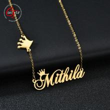Goxijite Custom Fashion Name Necklace With Crown For Women Personalized Initial Nameplate Choker Necklace Best Gift