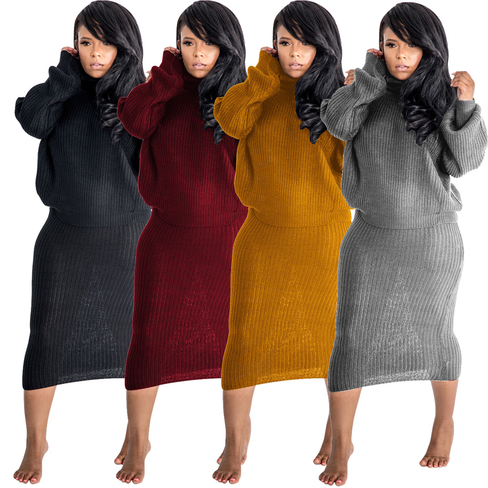 Tsuretobe Autumn Winter Casual Two Piece Set Women Knitted Long Sleeve Turtleneck Top And Midi Skirts Suit Soft Outfits Solid Fe