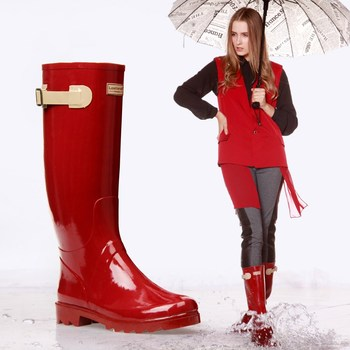 ZOELEA Women Rain Boots British Classic High Tube Waterproof  for Ladies Wellington Glossy RED Rainboots Shoes