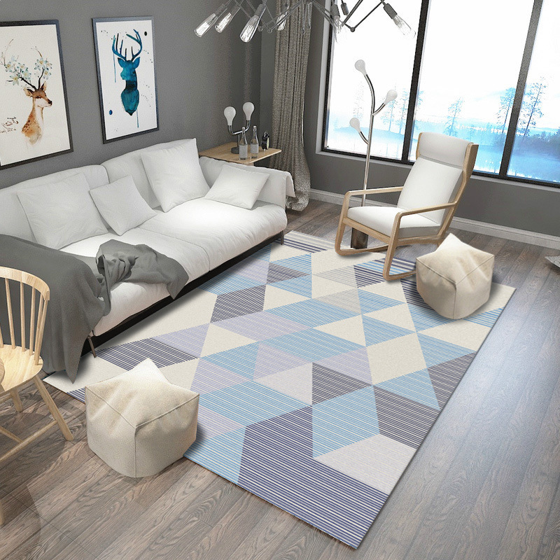Image 3 - Nordic Modern Carpet Rug For Living Room Abstract Geometric Wood Floor Rug Antifouling Carpet For Bedroom Parlor Factory Supply-in Carpet from Home & Garden