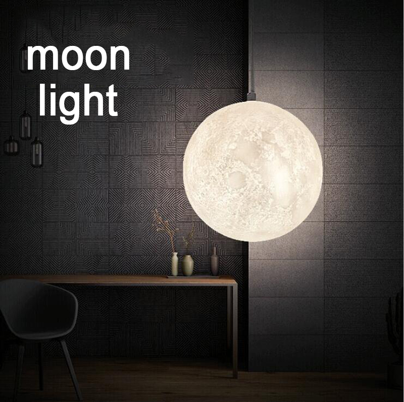 Moderna lámpara De luna con impresión en 3D luces colgantes PLA para habitación De niños lámpara colgante De dormitorio iluminación De sala De estar lámpara colgante luminaria - 5