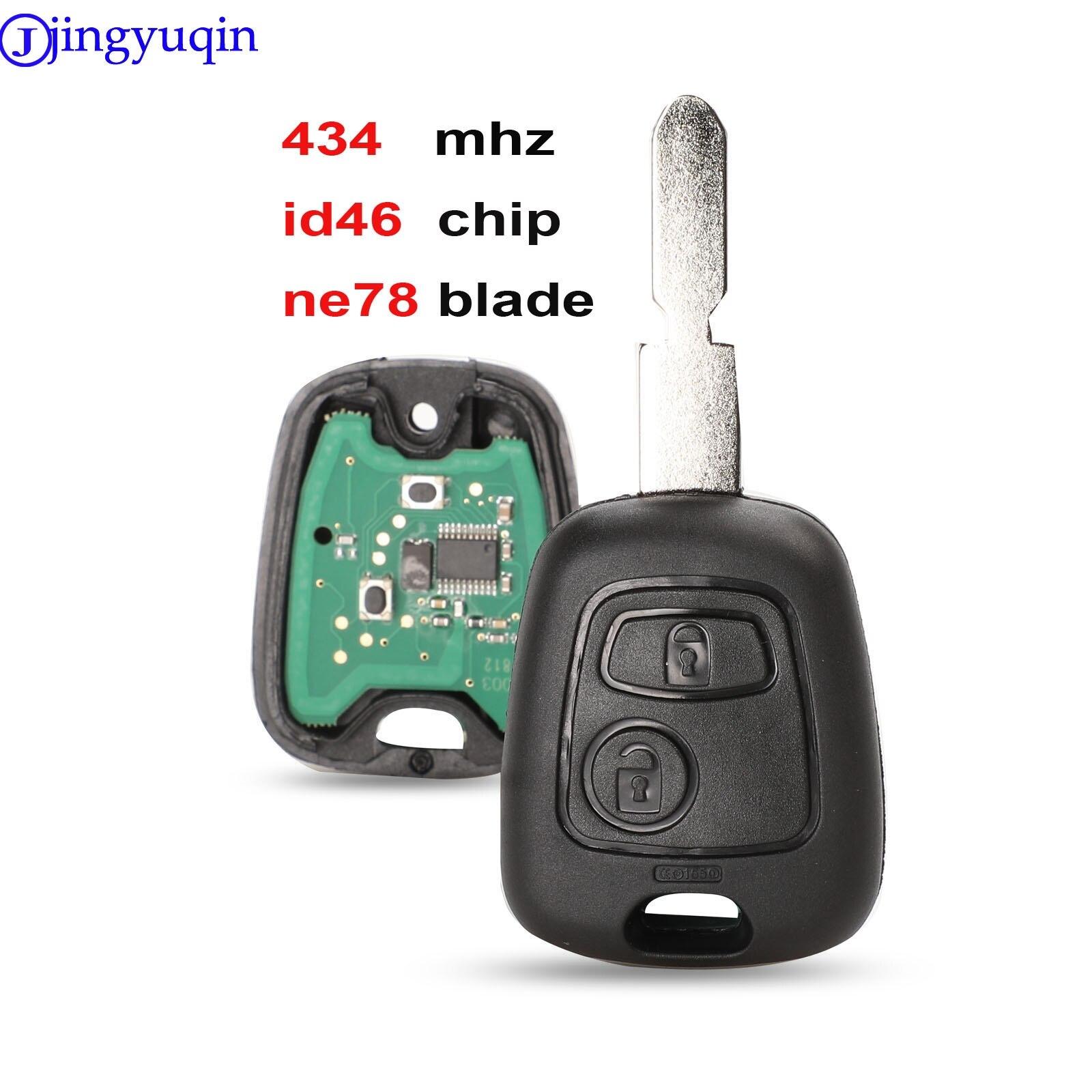 Jingyuqin для Peugeot 406 407 408 607, 2 кнопки, приемопередающий чип ключа автомобиля ID46 434 МГц и NE78 Blade, оригинальные клавиши