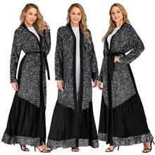 Sequins Abaya Dubai Kimono Open Kaftan Women Muslim Dress Islamic Robe Gown Turkish Abayas Long Cardigan Arab Cocktail Caftan(China)