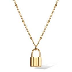 Punk Choker Lock naszyjnik złoty łańcuch satelitarny ze stali nierdzewnej dla kobiet dziewczyn prezent dobrej jakości naszyjnik 18 cali DN208