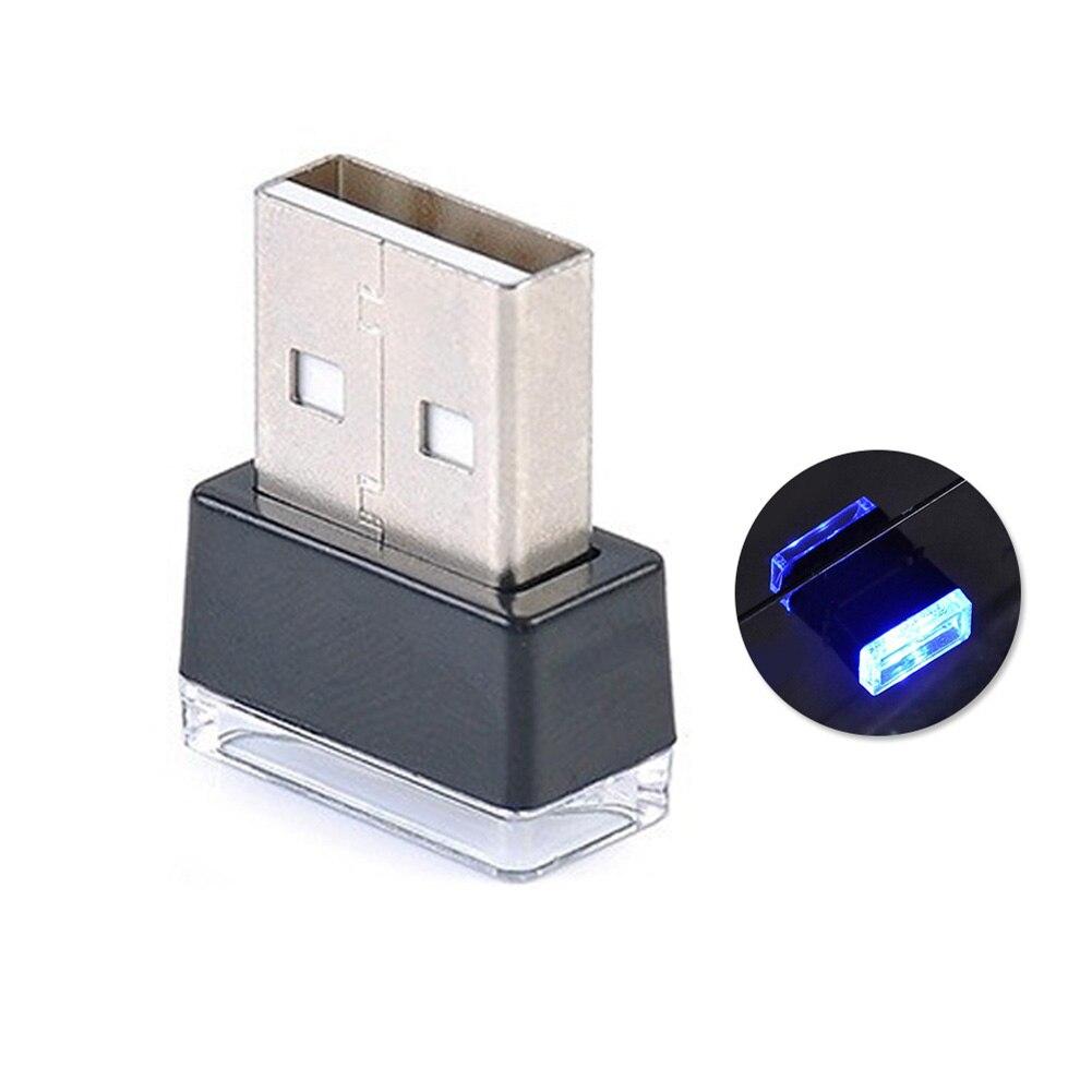 Портативный USB СВЕТОДИОДНЫЙ ночной Светильник для салона автомобиля с внешней атмосферой, декоративная лампа - Название цвета: Ice Blue