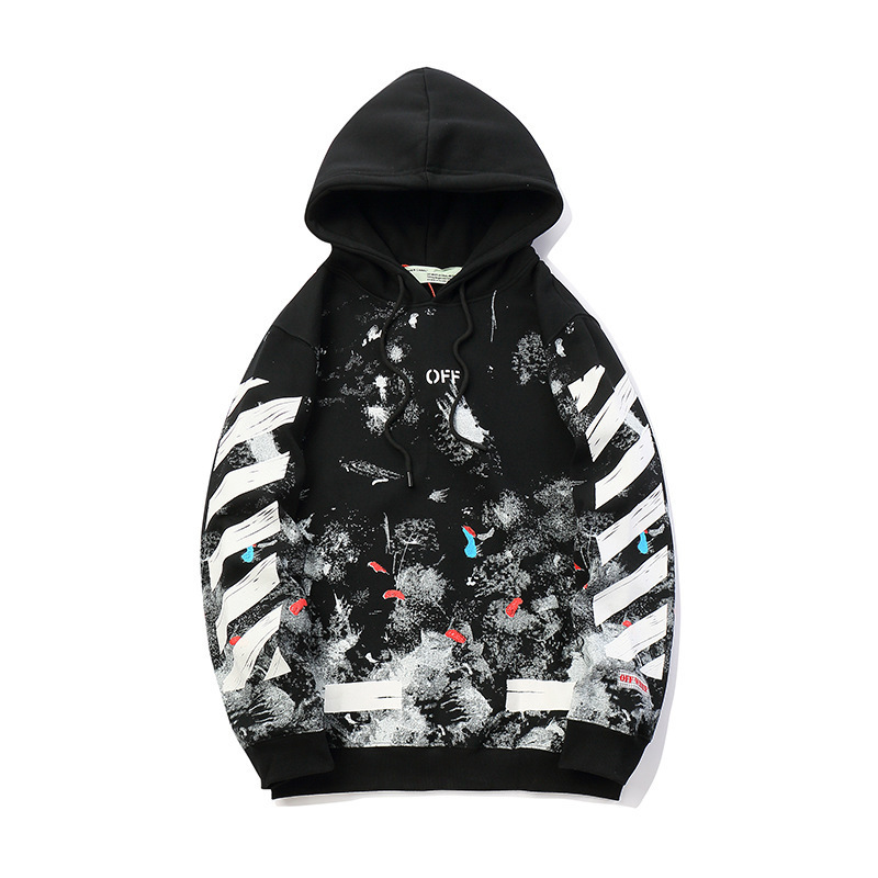 Europe And America Popular Brand Off Star Fireworks Ink Men And Women-plus Velvet Hooded Ow Hoodie Coat