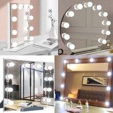 Светодиодный макияж зеркало светильник лампы USB Голливуд косметическое зеркало для макияжа светильник s Ванная комната туалетный столик св...
