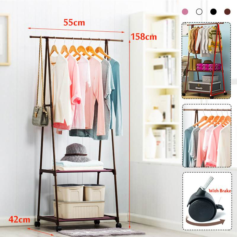 4 Colorful Clothes Rack Floor Standing Clothes Hanging Storage Shelf Clothes Hanger Racks W/Wheel Simple Style Bedroom Furniture