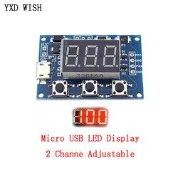 Micro USB Stepper Motor 2 Channel Adjustable PWM Signal Generator Duty Cycle Pulse Frequency Module Digital LED Display Tube