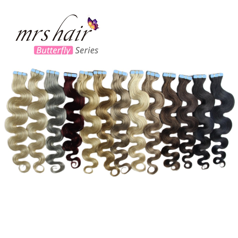 MRSHAIR Body Wave Tape In Human Hair Extensions 20pc Seamless Hair Adhesives Non-Remy Hair Skin Weft 613 Strong US Tape Ins 18