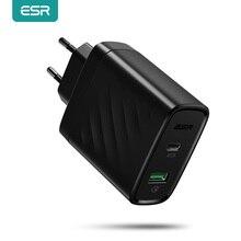 Esr usb c pd carregador 36w duplo rápido carregador para ipad pro iphone 11 x xs xr max se 2020 portátil compacto ue eua carregador de parede